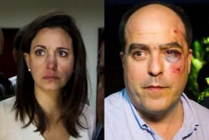 Diputados María Corina Machado y Julio Borges agredidos durante la sección de la Asamblea Nacional