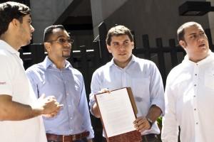 De izquierda a derecha: Rodrigo Diamanti (Sin Mordaza), Felix Velásquez (Sin Mordaza), Manuel Avendaño (Voluntad Popular) y Tony De Viveiros (VenMundo) Foto: Jorge Díaz
