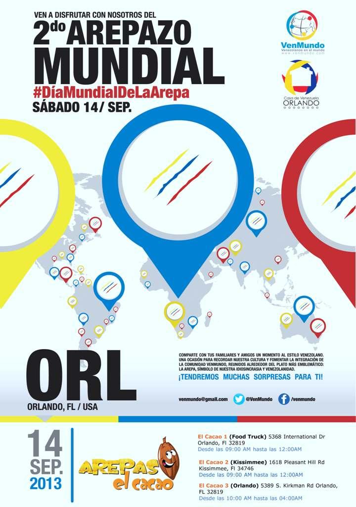 Afiche Arepazo 2013 Orlando (Arepas El Cacao)